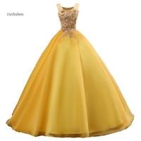 ruthshen Vestidos Debutantes 2018 Quinceanera Dresses Illusion Ball Gown Gold Appliques Beaded Puffy Prom Dresses Vestidos Para
