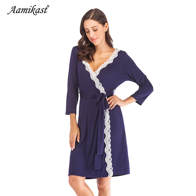 2018 autumn and winter new home service belt women's pajamas loose V-neck long-sleeved simple female home service pajamas