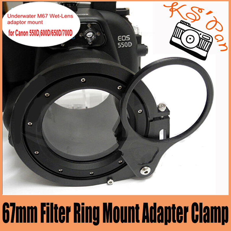 67 67mm Filter Ring Mount Adapter Clamp For Meikon Meike Underwater Housing Case 550D 600D 650D 700D meikon 40m waterproof underwater camera housing case bag for canon 600d t3i
