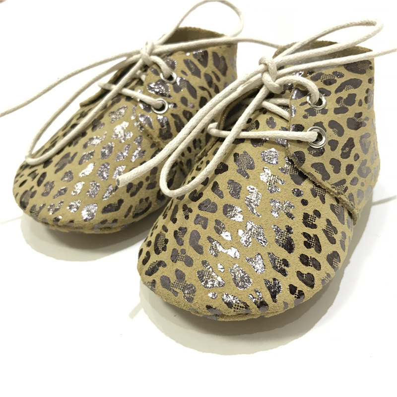 High Quality Metallic Leopard Genuine Leather Baby Oxford Shoes Baby Moccasins Toddler Lace-up Baby Shoes First Walker