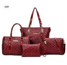 2017 NEUE Marke Frauen Tasche Umhängetaschen Handtasche Diamantgitter 5 Stücke Set Weibliche Taschen Feminina Tasche Femme