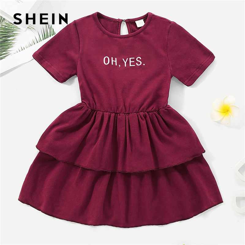 SHEIN Kiddie Burgundy Letter Print Ruffle Hem Casual Toddler Girls Dress 2019 Summer Short Sleeve A Line Kids Dresses For Girl sweet style short sleeve scoop collar see through letter print dress for women