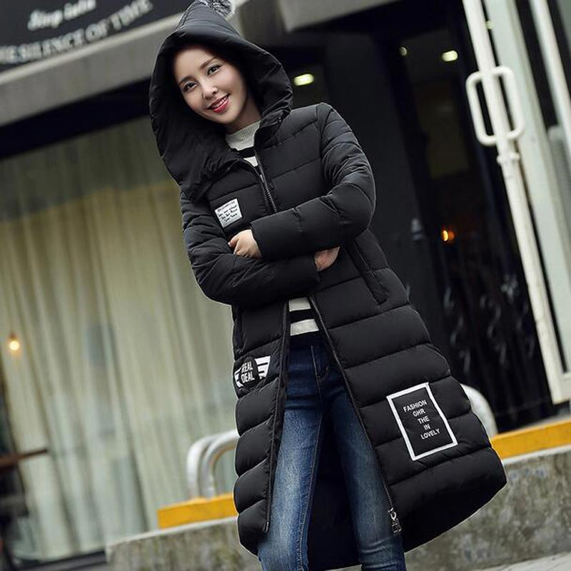 Thicker 2017 New Plus Size Winter Wadded Jacket Women Thick Warm Hooded Long Cotton-padded Jacket Parka Slim Winter Coat 2017 new plus size winter wadded jacket women thick warm hooded medium long cotton padded jacket parka slim winter coat cm1545