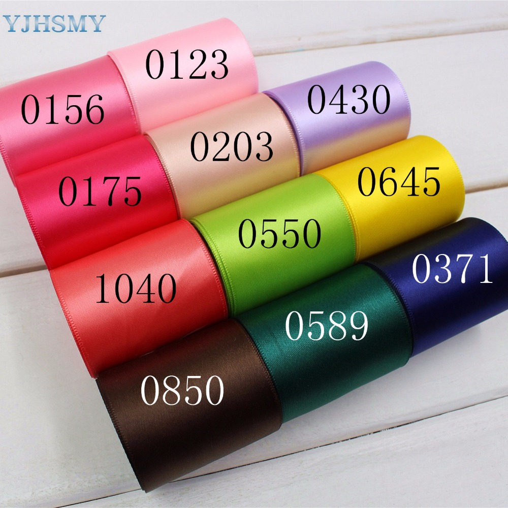 YJHSMY 1742814,50 mm 10 yard Multi color optional solid color satin ribbon,headdress accessories wedding DIY hand-made materials