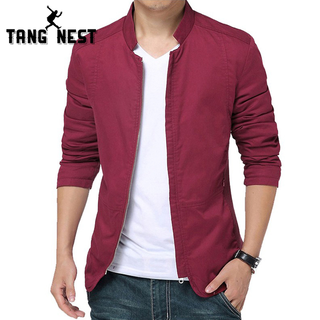 Tangnest New Spring Men Jacket 2018 New Design Mandarin Collar Men