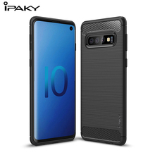 IPKAY Brushed Silicone Case For Samsung galaxy S10 Carbon Fiber Texture Soft Phone Cover For Samsung S10 E S10 Plus Shockproof