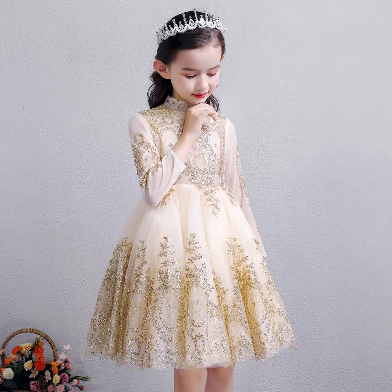 2019Spring New Kids Teens Model Show Performance Princess Sequined Dress Children Girls Fashion Birthday Evening Party