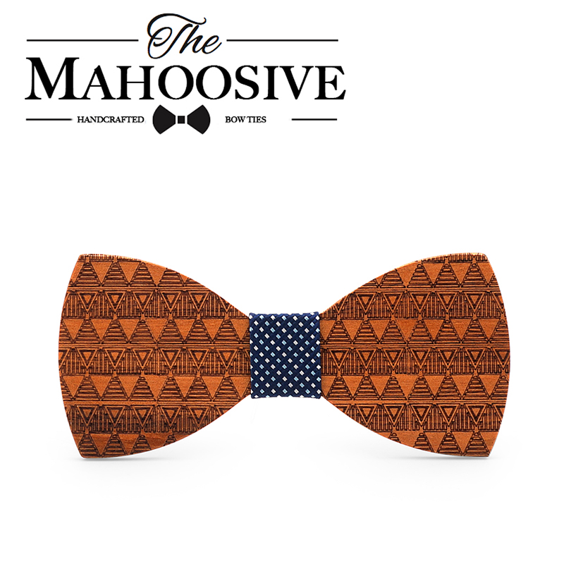 Mahoosive Brand Fashion Handmade Wood Bow Ties Bowtie Butterfly Gravata Ties For Men DIY Dot Mens Wooden Bow Tie