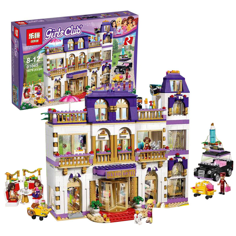 Lepin 01045 Girls Friends Heartlake Grand Hotel Building Block DIY Bricks Compatible With Legoing 41101 Model for Girls Gift lepin 01045 1676pcs girls series heartlake grand hotel set children eucational building blocks bricks toys model gift 41101