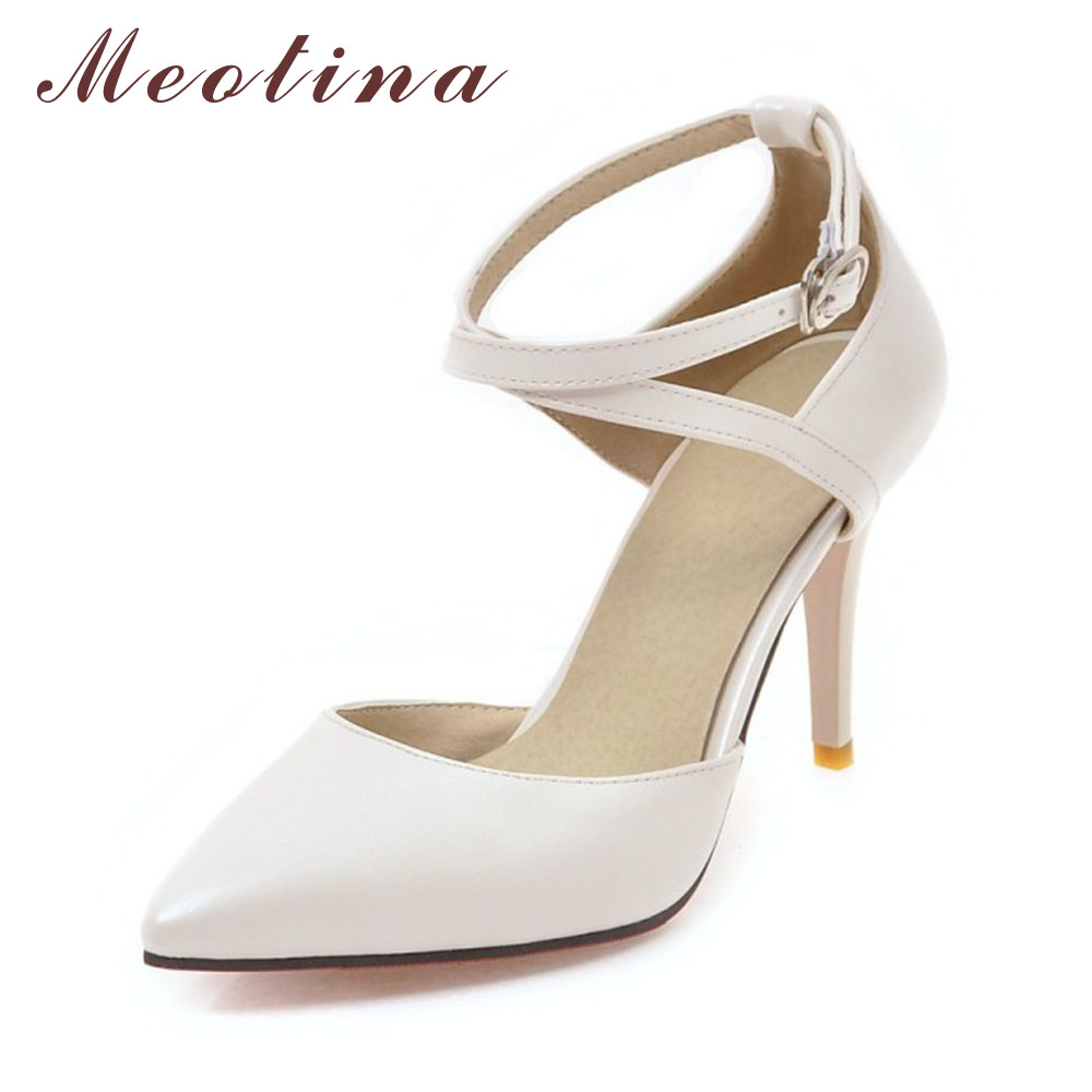 Meotina High Heels Shoes Women Pumps Buckle Strap Sexy Thin High Heels Two Piece Heels Pointed Toe Fashion Ladies Shoes 34-43