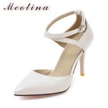 Meotina/обувь на высоком каблуке женские туфли-лодочки Туфли с ремешком и пряжкой пикантные высокий тонкий каблук из двух частей каблуке Острый носок модная дамская обувь 34-43