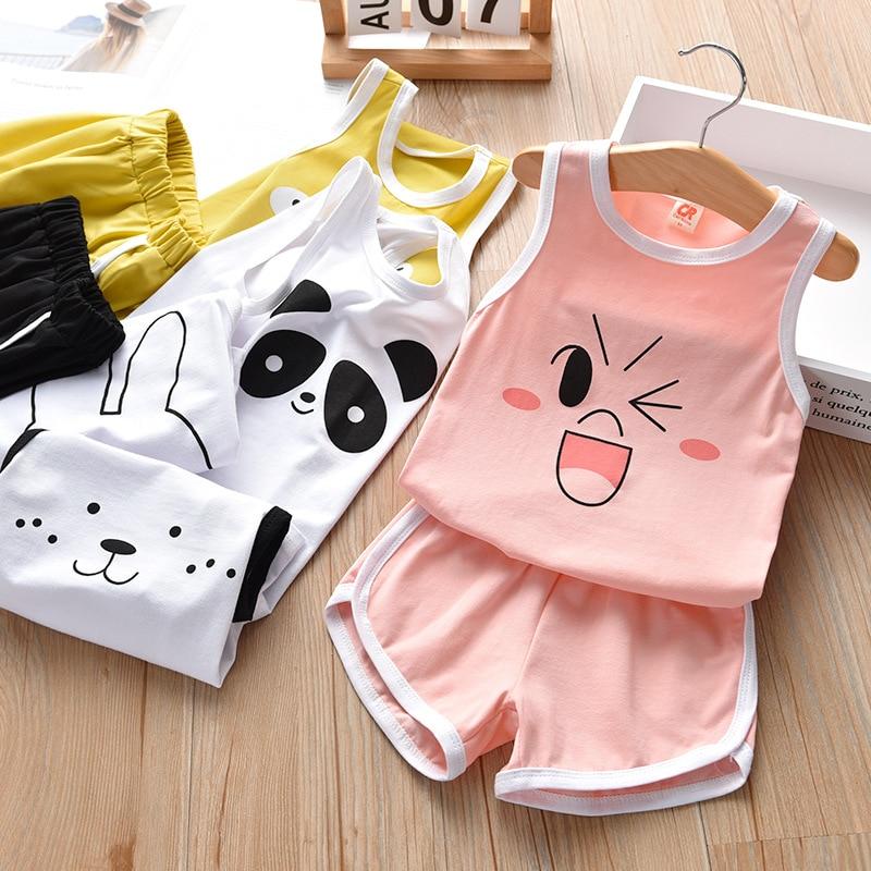 Summer Childrens Two-piece set Cotton Suit Children Set Clothing Girls Boys Sets Toddler S