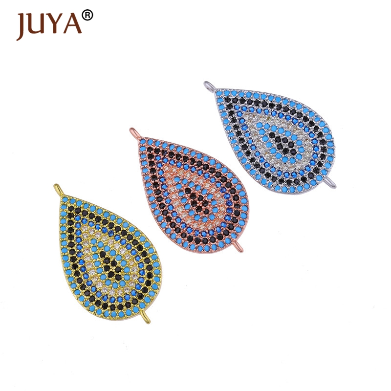 Top Quality AAA Cubic zirconia rhinestone Turkish Evil Eye Charm Connectors DIY Making Bracelets Necklaces hand made bijoux in Jewelry Findings Components from Jewelry Accessories