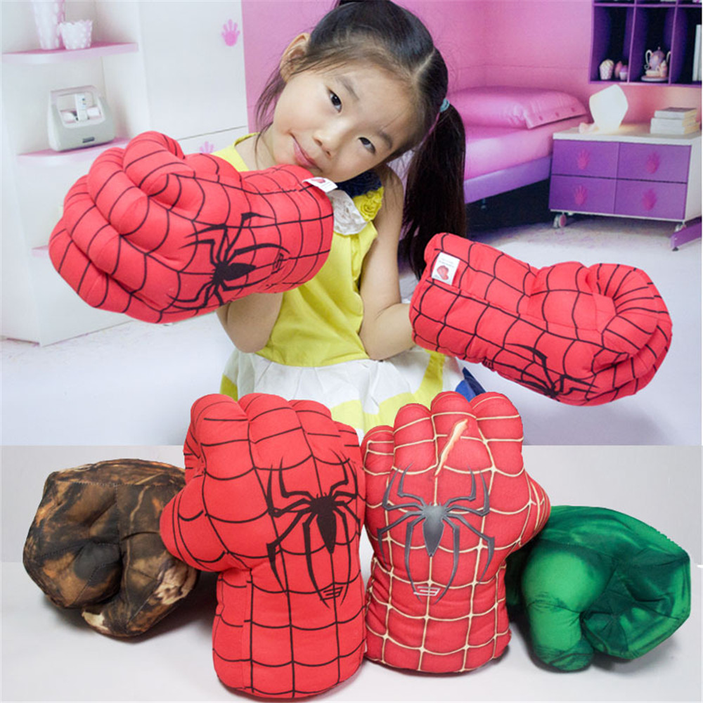 cosplay 28cm Height Spiderman Boxing Glove Plush Stuffed Punching Fist Gloves Four Choice Left Right Hand Random Shipping