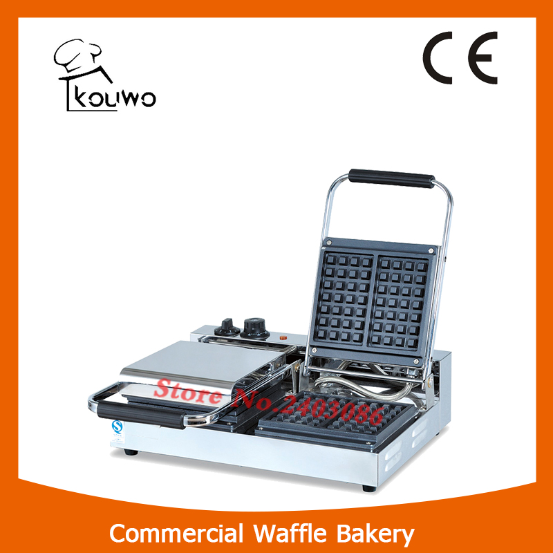 KOUWO commercial double plate electric waffle baker waffle maker KW-1B.2 directly factory price commercial electric double head egg waffle maker for round waffle and rectangle waffle