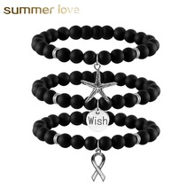 Natural Beads Bracelet Wish/Starfish/Cross pendant Black Matte Stone Bracelet for Women Men Stretch Energy Bracelet 2017 New