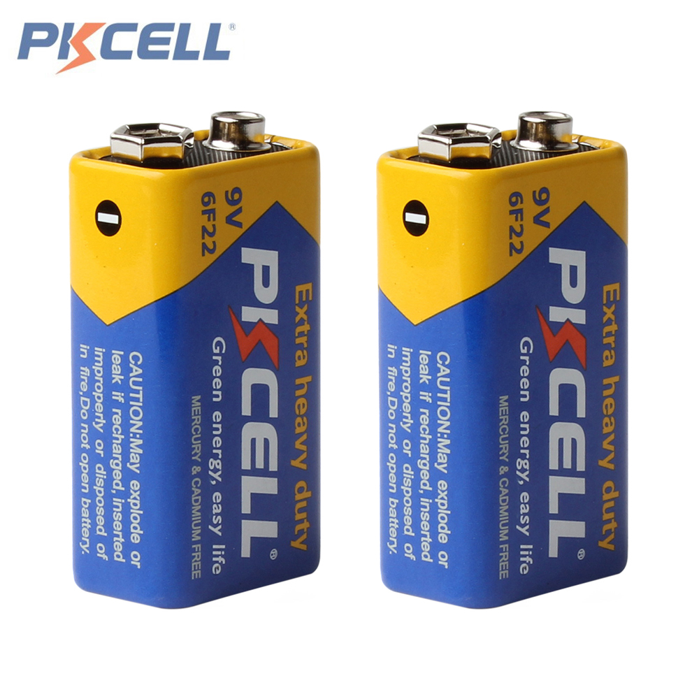2pcs! Pkcell Super Heavy Duty 9V 6F22 Battery Dry Zinc Carbon Battery for Digital Camera Remote Control Toy Smoke Alarm