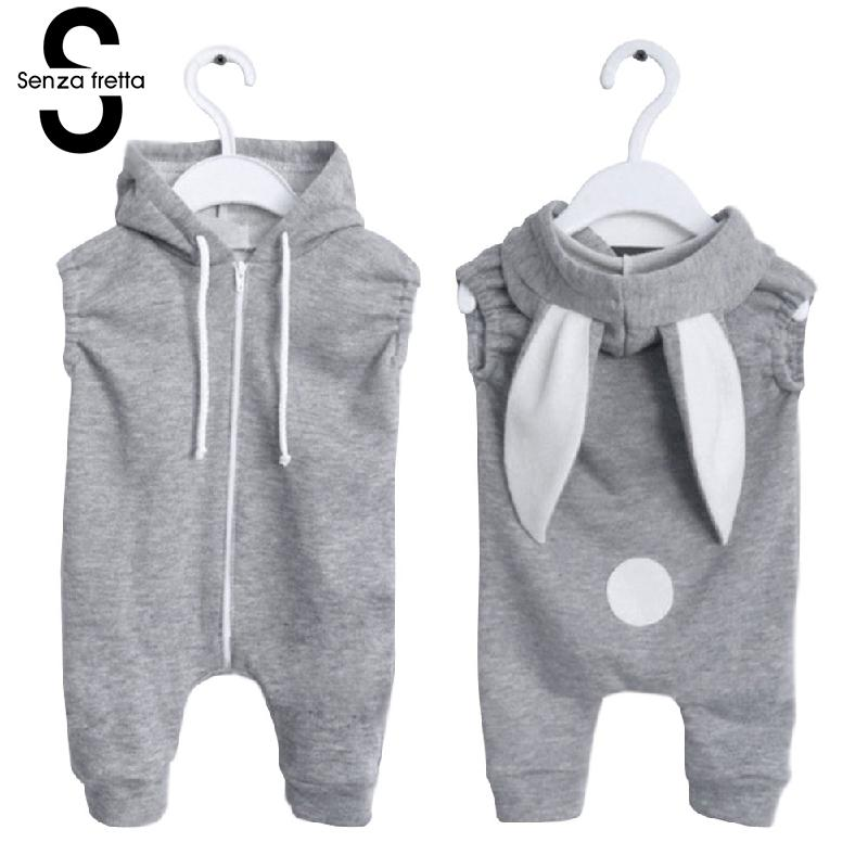 Senza Fretta Gray Zipper Conjoined Jeans With Rabbit Ears Hooded Sweater Baby girl/Boys Sweaters Ins Hot Sale Hoodies For baby