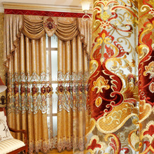 Chenille Luxury Atmosphere Villa Europe Valance Blackout Curtain for Living Room Window Tulle  Embroidered Decoration