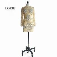 Лори короткие вечернее платье, расшитое кристаллами Свадебная вечеринка, платье с О образным вырезом Бисероплетение пикантные Лонгслив бл