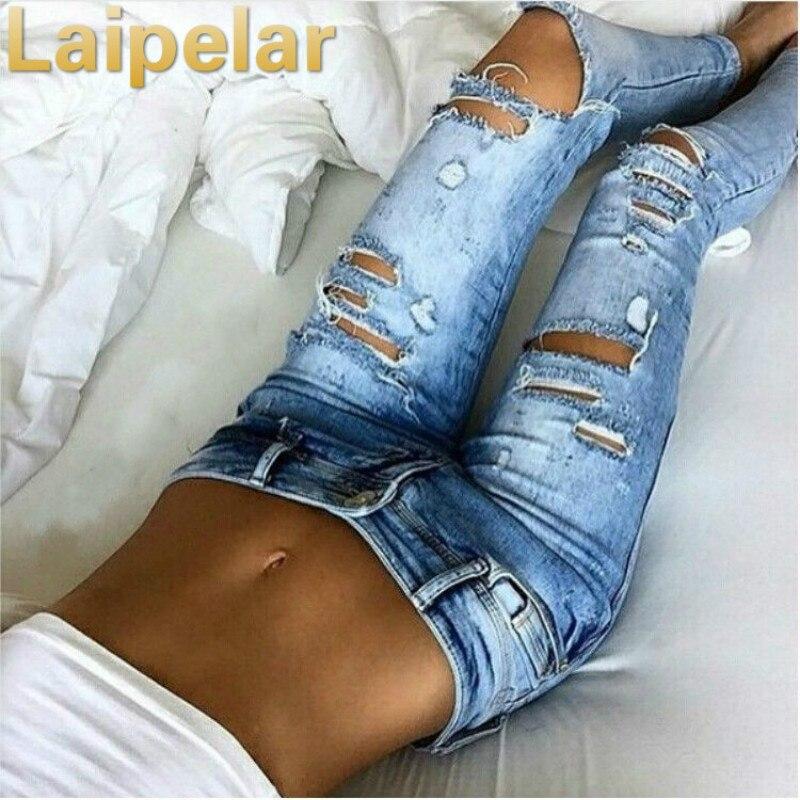 Laipelar Mew Fashion Womens Destroyed Ripped Jeans Distressed Slim Denim Boyfriend Hole Trousers New Pants