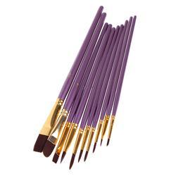 10 шт. фиолетовая художественная кисть Набор нейлоновых волос акварельные акриловые кисти для живописи маслом Рисование художественные
