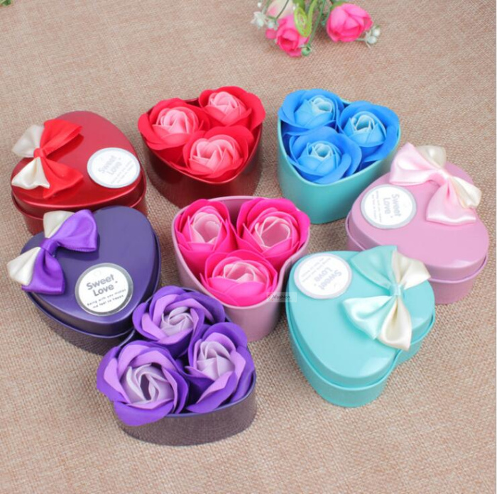 Cleansers Intelligent 3pcs Lovely Heart Shape Flower Soap Bath Body Rose Petal Soap Wedding Decoration Women Girl Date Romantic Gift