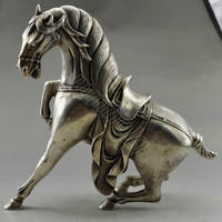 Collectible Decorated Old Handwork Tibet Silver Carved Big Steed Horse Statue free SHIPPING