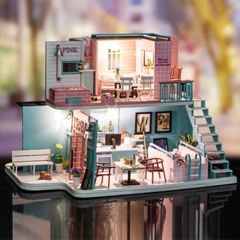 Christmas Gifts Miniature Diy Puzzle Toy Doll House Model Wooden Furniture Building Blocks Toys Birthday Gifts Coffee Shop Loft