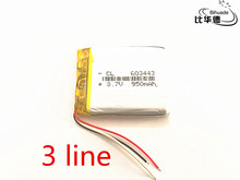 3 line 10pcs/lot 603443 3.7V 950MAH  Original Battery GPS navigation built- in lithium polymer battery