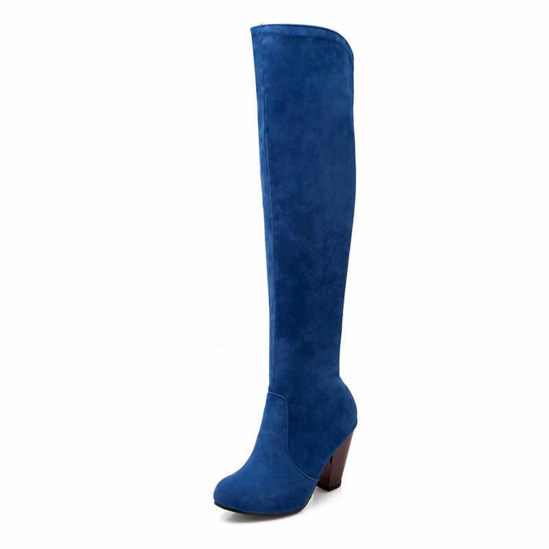 Asumer ใหม่มาถึงผู้หญิงสีดำสีแดงสีเทาสีฟ้าสีทึบเข่า SLIP ON ฤดูใบไม้ร่วงฤดูหนาวผู้หญิงรองเท้า