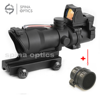 Tactical Trijicon Airsoft ACOG 4X32 Sight Scope Real Red Fiber Source Red Illuminated Rifle Scope W