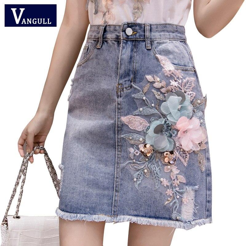 Vangull Summer Fall Women Beading Flower Tassel Irregular High Waisted Denim Skirt Designer Woman Embroidery Slim Jeans Skirts