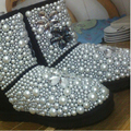 Free Shipping Handmade pearl Rhinestone sequins crystal kid's girl's bling fashion Snow Boots children Boots warm Winter Shoes