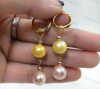 Beautiful AAA 9 10mm Natural South Sea Golden with Pink Pearl Earrings 925silver Hoop