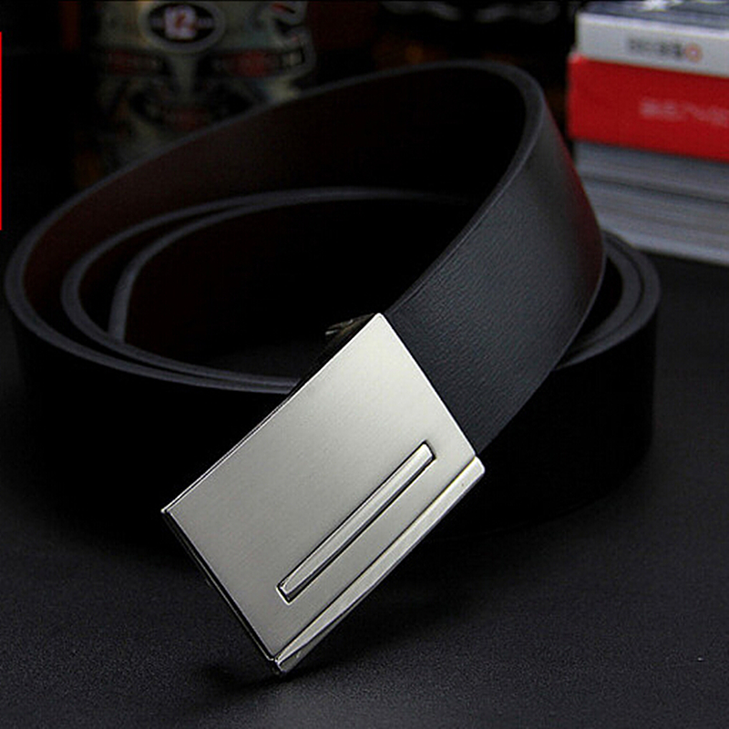 New Men's Genuine Leather Belt Male Cowskin Belt Formal Suit Trousers Strap Double Use Metal Buckle Belt Gift For Men Belts