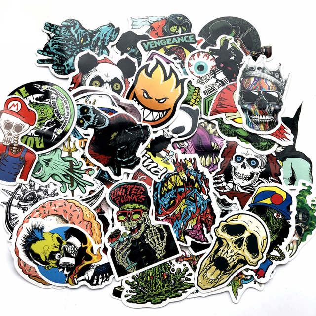 Online Shop 50 Pcs Mixed Horror Stickers for Luggage Laptop