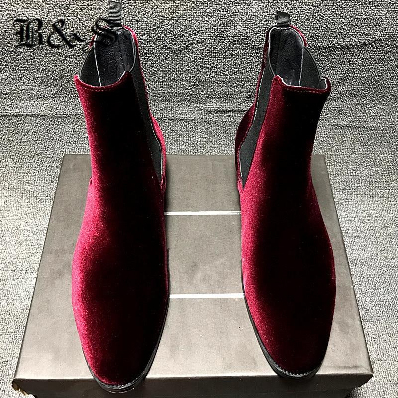 Black& Street Men Wine Red Velvet Genuine Leather Gentlemen Dress Business Wedding Chelsea Boots British Style West Season Boots