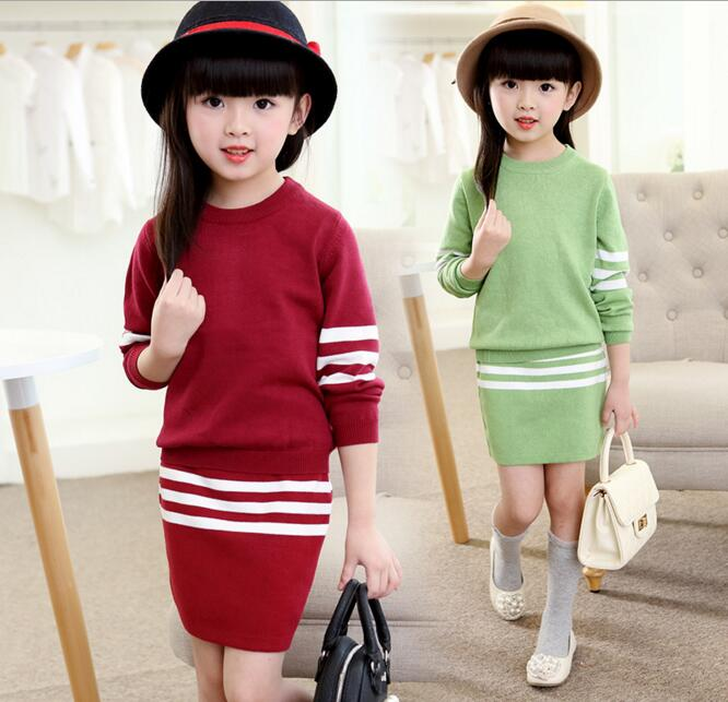 Children Sweater Dress Girls O-neck Striped Knitted Two Piece Dress Sets Kids Spring Autumn Casual Dress orange roll neck casual dress with two side pockets