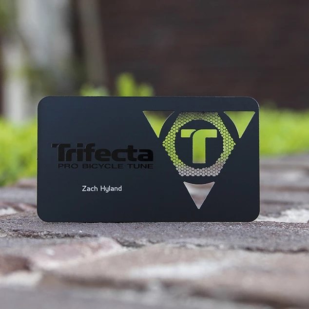 Wholesale Laser Cut Matte Black Metallic Foil Metal Business Card