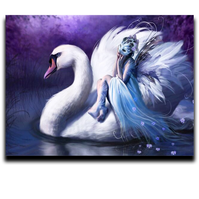 Diamond cross stitch painting Square Round diamond embroidery animal full diamond Mosaic Home Decorations quot Swan girl quot in Diamond Painting Cross Stitch from Home amp Garden