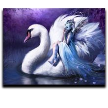 Diamond cross stitch painting Square \ Round diamond embroidery animal full Mosaic Home Decorations Swan girl