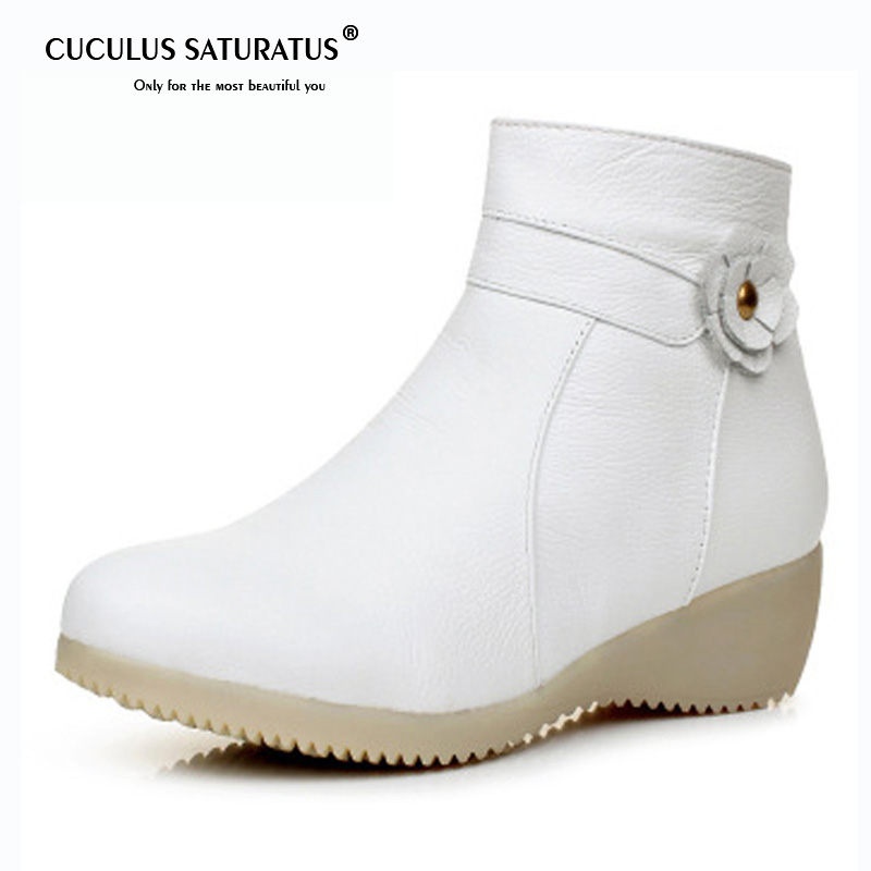 Cuculus 2019 Winter Genuine Leather Boots Bow Nurse White Cotton Snow Boots Slope with Warm Anti