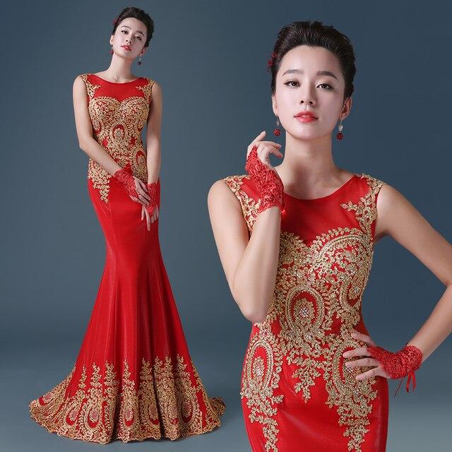 Piuttosto rosso nero 2016 elegante Tromba Sirena abiti da sera d oro  appliques abiti 098b151aa14