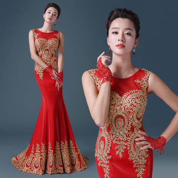 Pretty red black 2016 elegant Trumpet / Mermaid evening dresses gold appliques dresses formal party dress rhinestones prom dress