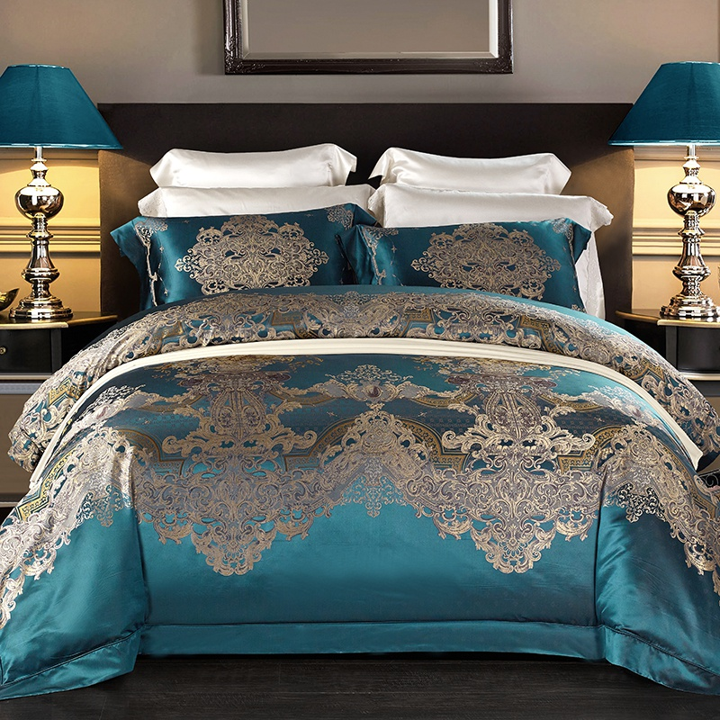 Dyed High Counts High End Premium Mulberry Silk Jacquard Palace Bedding Set 4Pcs King Size Duvet Cover Bed Sheets Set Pillowcase