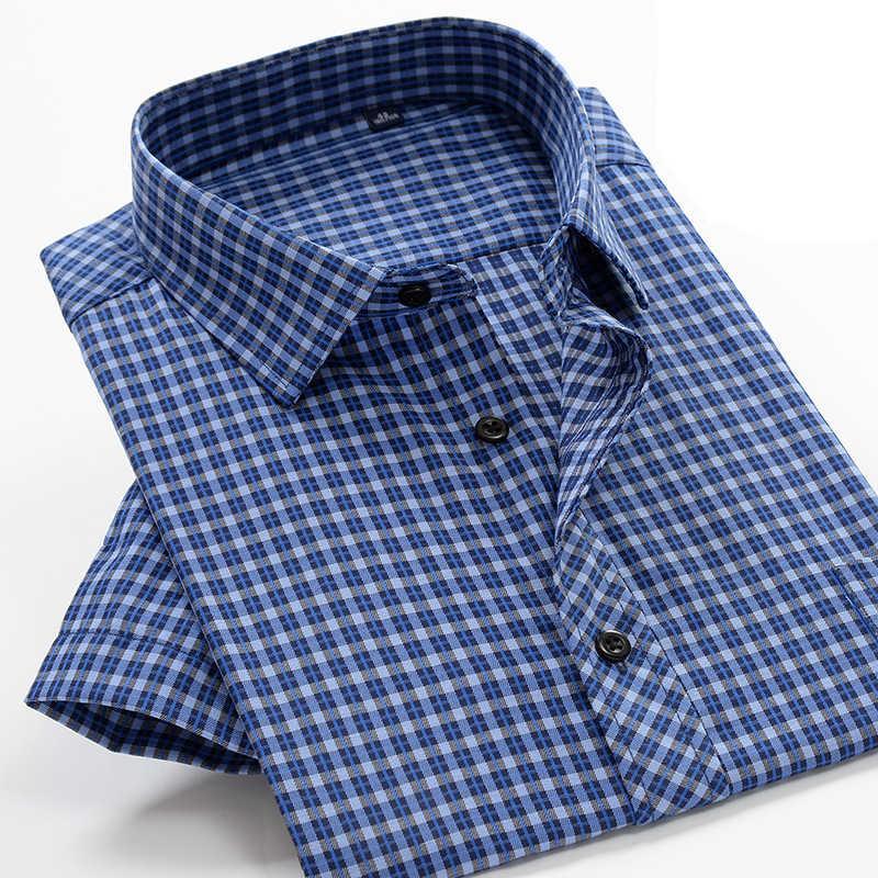 2020 sommer Neue 7XL 8XL 9XL 10XL herren Business Casual Plaid Kurzarm Shirt Klassische Männer der Baumwolle-mischung Loses Hemd