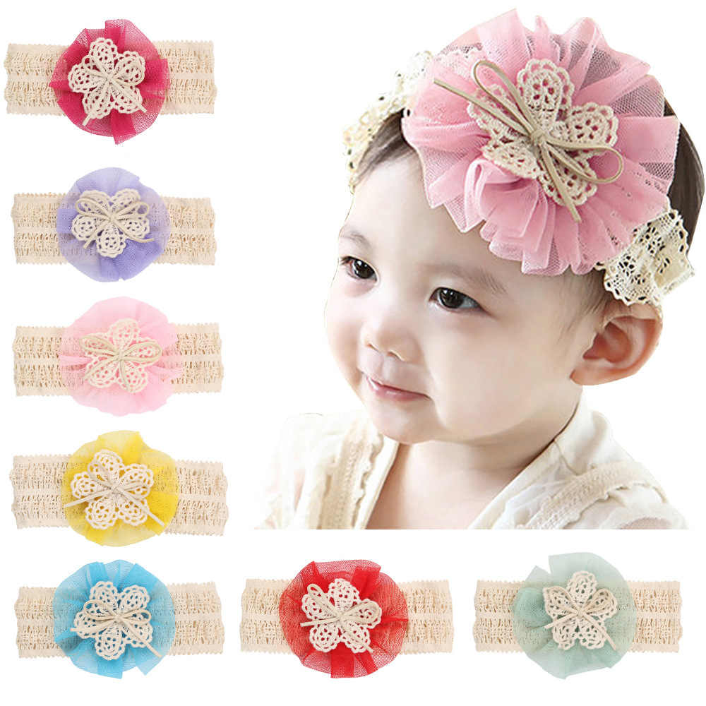 baby girl headband Infant hair accessories cloth flower Tie bows Headwear tiara Gift Toddlers bandage Ribbon newborn headwrap