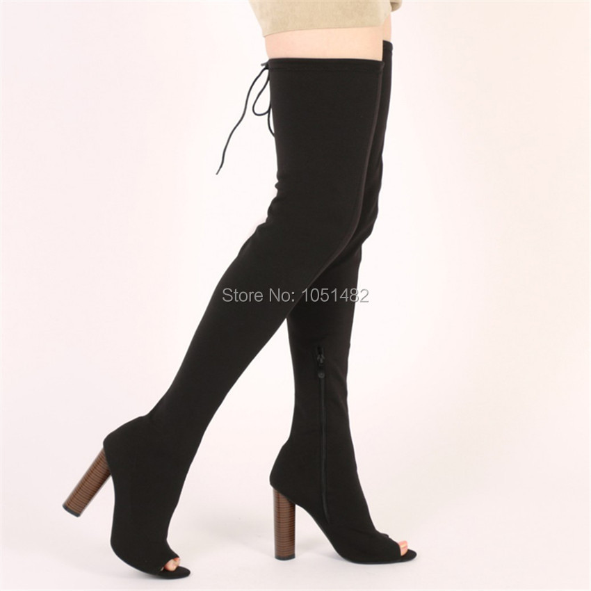 black peep toe thigh high boots high heel