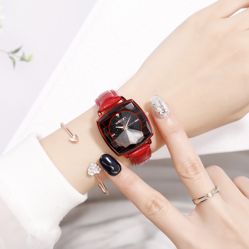 Fashion Leather Strap Watches Women Top Brand Luxury Casual Clock Red Black Ladies WristWatch Relogio Feminino Gift Montre Femme